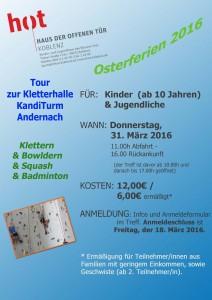 Hoch hinaus & auspowern: die Tour in den Kandi-Turm nach Andernach. Wer dabei sein will muss mindestens 10 Jahre sein