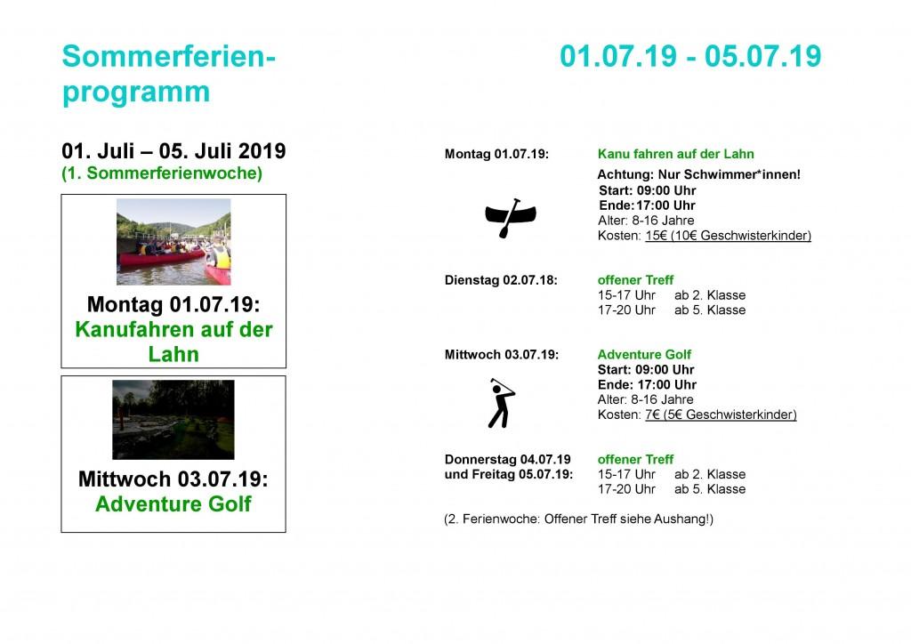 Flyer Sommerferien 2019